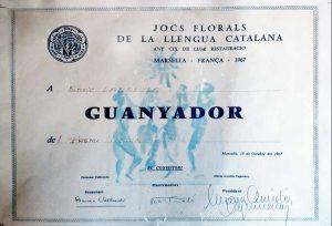 Premi Víctor Català 1967, als Jocs Florals de la Llengua Catalana, celebrats a Marsella, amb Recull de contes.