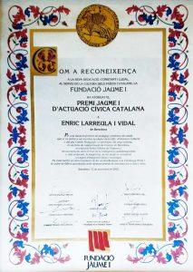 Premi d'Honor Jaume I 2002, instituït per la Fundació Jaume I.
